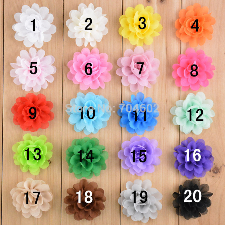 girl Hair Flowers For Headbands 2 Inch Fabric Chiffon Flowers Without Clips Girls Hair accessories 120pcs/lot Free Shipping TH50 halloween party zombie skull skeleton hand bone claw hairpin punk hair clip for women girl hair accessories headwear 1 pcs