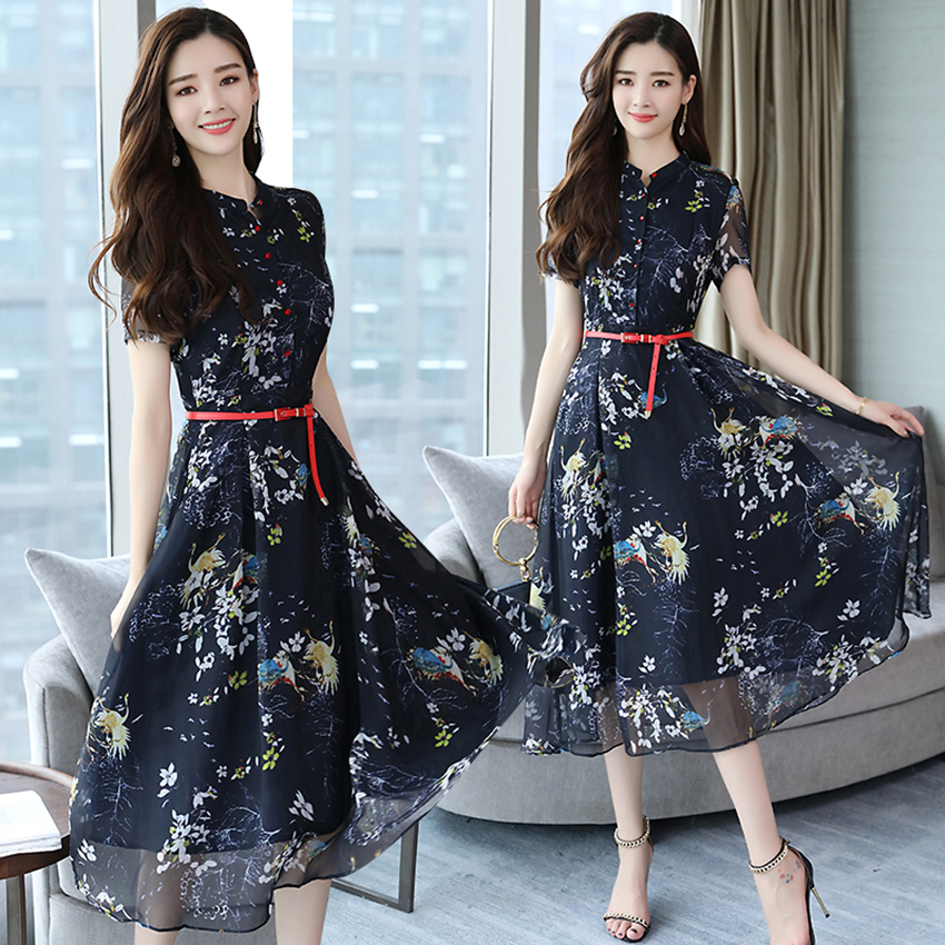 2019 Autumn Winter Vintage Chiffon Floral Midi Dress Plus Size Maxi Boho Dresses Elegant Women Party Long Sleeve Dress Vestidos 86