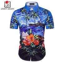 7 New Fashion Brand Men Shirt 3D Beach Clothes Dress Shirt Short Sleeve Slim Fit Camisa