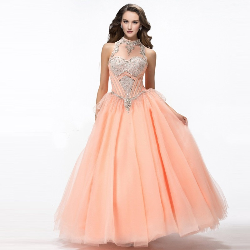 Popular Halter Coral Quinceanera Dresses-Buy Cheap Halter Coral ...