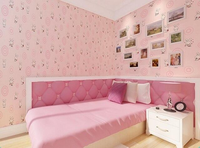 Zoete roze kleur wit rabit behang voor meisjes kamer kids slaapkamer