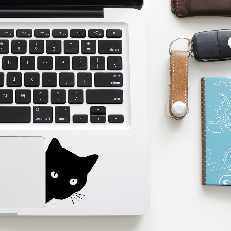 Funny Curious Black Cat Decal Laptop Trackpad Sticker for Macbook Pro Air Retina 11 12 13 15 inch Mac HP Notebook Touchpad Skin cute funny cute cat wall decal sticker