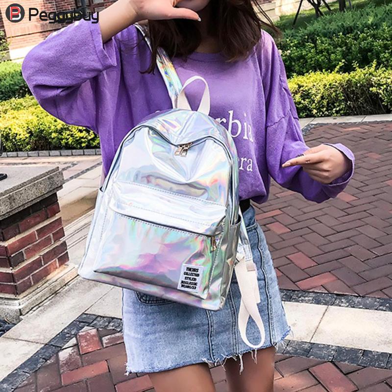 New Fashion Women Laser Hologram Pvc Backpacks Girls Shoulder School Backpack Female Small Leather Holographic Travel Bag Mochila Feminina Luggage & Bags