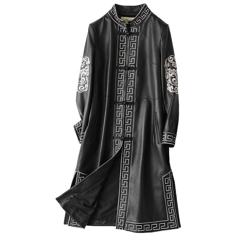 Otoño Invierno Chaqueta de cuero genuino abrigo de piel de oveja Real ropa de Mujer 2018 chaquetas largas Vintage Chaqueta Mujer ZL760