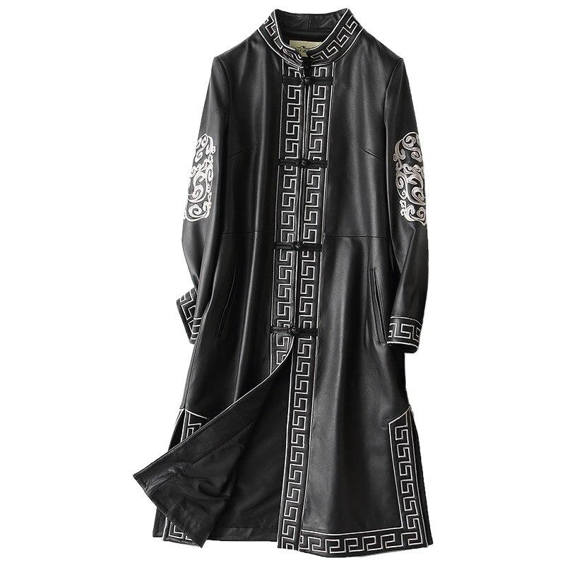 Outono Inverno Jaqueta De Couro Genuíno Casaco de Couro Real da pele de Carneiro Das Mulheres Roupas 2018 Longa Vintage Jaquetas Chaqueta Mujer ZL760