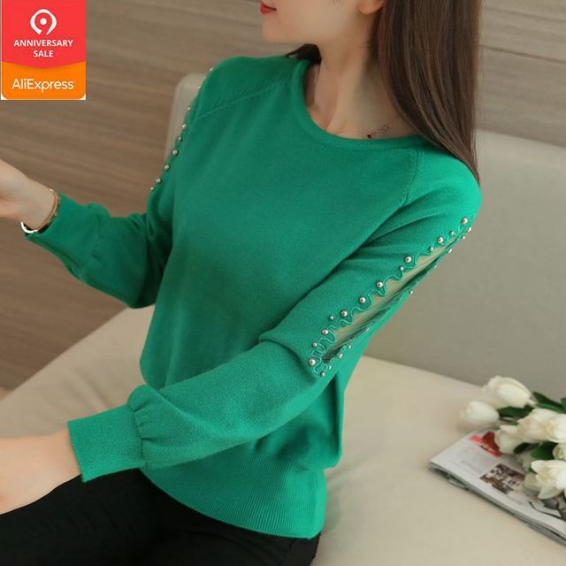 OHCLOTHING 2019 autumn winter sweater hedging all match  loose sweaters female short lace beading shirt solid