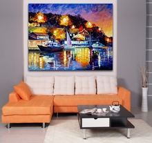 Charming Scenery of the Yacht 100% Palette Knife Oil Painting Printed On Canvas Wall Art For Hotel Office Home Decor