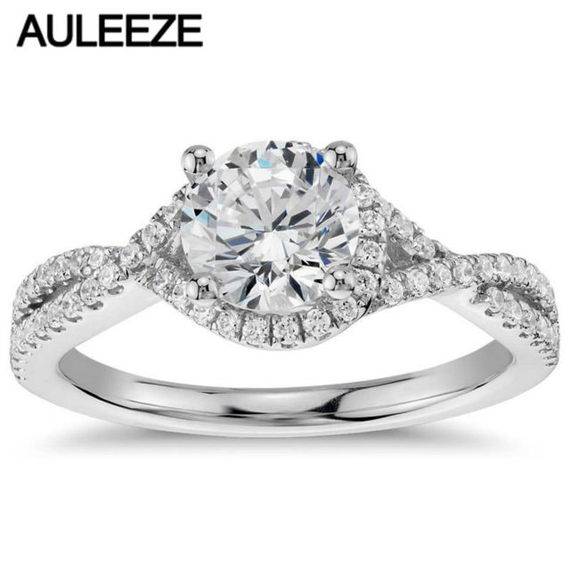 9k White Gold Wedding Ring Twisted Halo 1 Carat Simulated Diamond Engagement Rings For Women