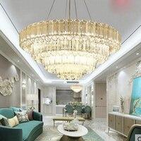 Свет Роскошные хрустальные люстры пост современный минималистский ресторан Атмосфера лампы дизайнер модель вилла Роскошная гостиная ламп
