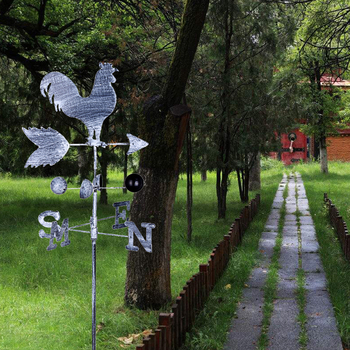 120cm Vintage Rooster Weather Vane Metal Iron Wind Speed Spinner Direction  Indicator Garden Ornament Decoration Patio Yard