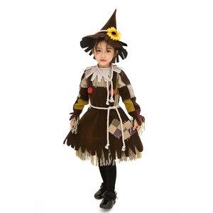 Image 5 - Der Zauberer von OZ Kürbis Patch Scarecrow Kostüm Cosplay Mädchen Kinder Halloween Karneval Cosplay Partei Erstaunliche Phantasie Kleid Up Anzug