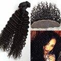 Полный Фронтальная Кружева Закрытие 13x4 С Связки Rosa Продукты Волосы перуанский Глубокая Волна Глубокой Вьющиеся С Закрытием 100% девственных человека волос