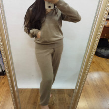 Sale Wool Tracksuits 2017 New Spring Fashion Female Hooded Suit Knitted Mink Cashmere Sweater + Leisure Trousers Two Piece