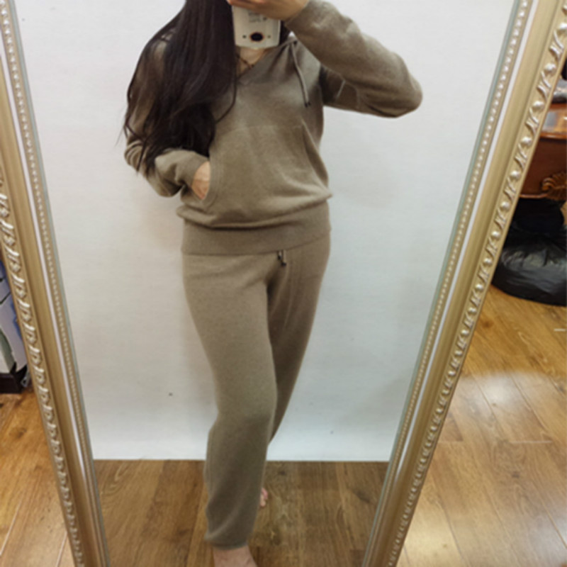 Sale Wool Tracksuits 2017 New Spring Fashion Female Hooded font b Suit b font Knitted Mink