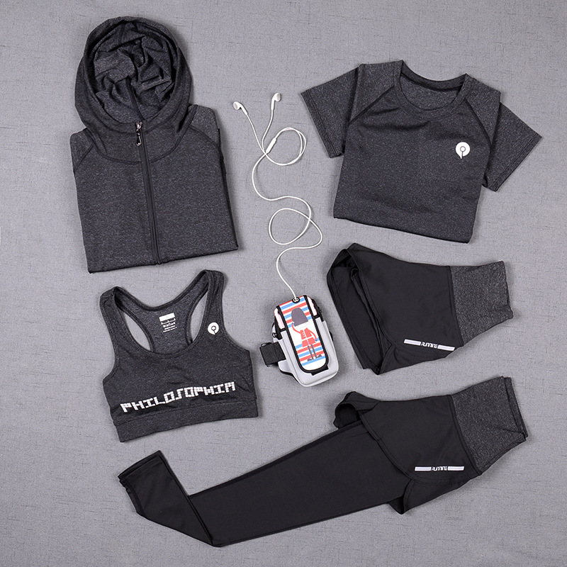 5 Pcs Sport Tracksuit For Women Yoga Set Autumn Sprot Fitness Clothing For Women Outdoor Running Sweat-absorbent Sport Suit