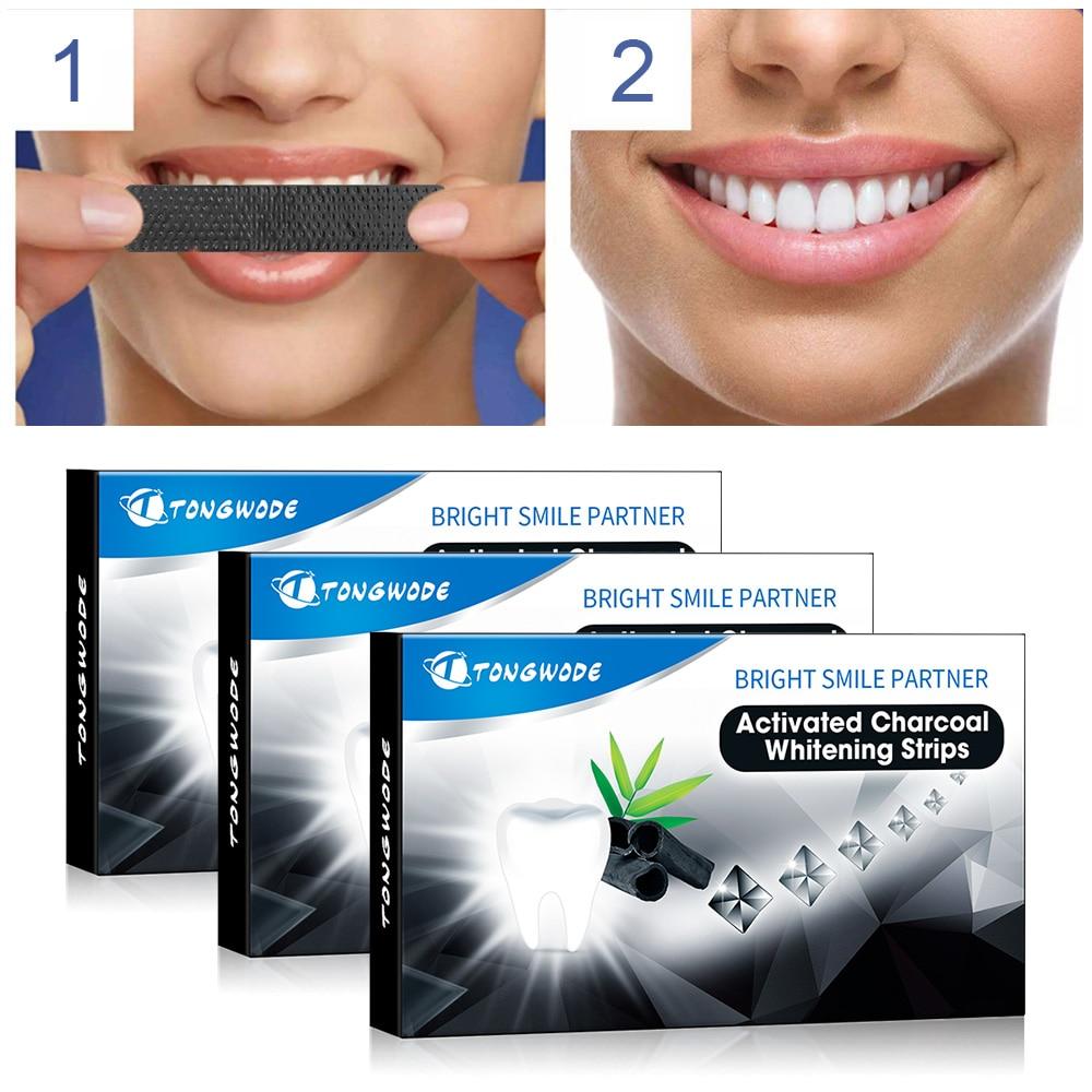 Teeth Whitening Strips 3 Boxes Natural Coconut Charcoal Teeth Whitening Veneer Gentle To Tooth Gum Pilishing Tartar DDKJ203