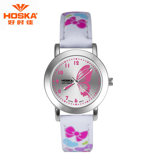 HOSKA Ultra Thin Girl Watch Butterfly Date Display Stop Watch Stainless Steel Back Water Resistant Quartz Watch moda mujer H803