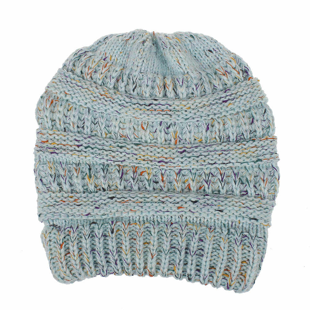 c1b6fce9599 ... Ponytail Ribbed Beanie Soft Stretch Cable Knit Warm Skull Cap Multi  Color Ribbed Hat Cap ...