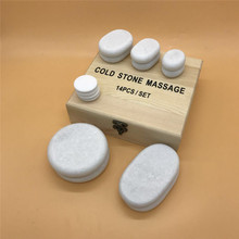 14pcs/set Natural White Marble Stone Cooling Massage Therapy Energy Cold Stone SPA Beauty