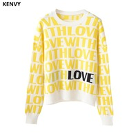 KENVY Brand Fashion Women's High end Elegant Winter Loose Letter Knitted Cotton Sweater