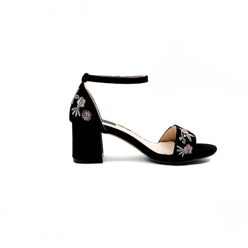 Ribetrini Talons Concis Floral Daim Pour Chaussures Naturel Femme Brodent 2019 Marque Femmes Color D'été Ethnique Sandales En Qualité noir Hauts nxPanr4T