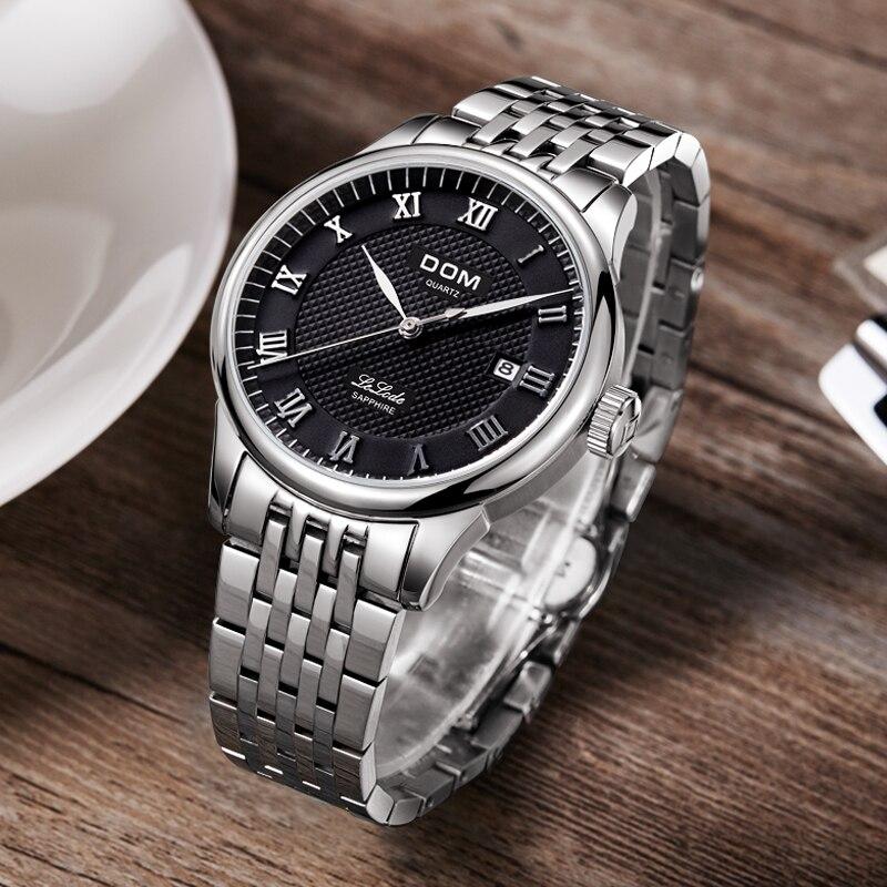 DOM Men Watches 2016 Luxury Brand Hot Full Steel Quartz Wristwatch Leather Belt Fashion Vintage Watch