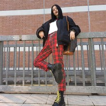 New Retro Punk Red Plaid Checkered Female Pants Autumn Loose Streetwear Pencil Trousers