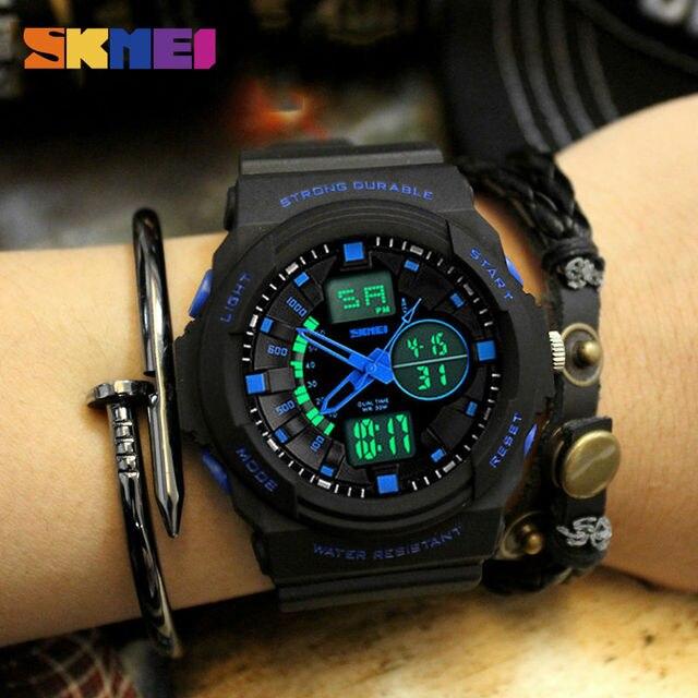 SKMEI Dual Дисплей цифровые часы Для женщин Хронограф Спортивные наручные Часы дамы светодиодный наручные Relogio feminino часы женский 1008