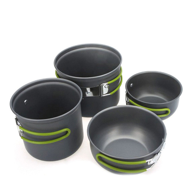 4pcs/Set Hiking Outdoor Camping Backpacking Cooking Picnic Non-Stick Aluminum Cookware Set Pot bowl