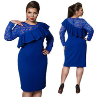 QMGOOD New Design Lace Spliced Falbala Dress Big Sizes Elegant Pencil Party Dress Full Sleeves Autumn