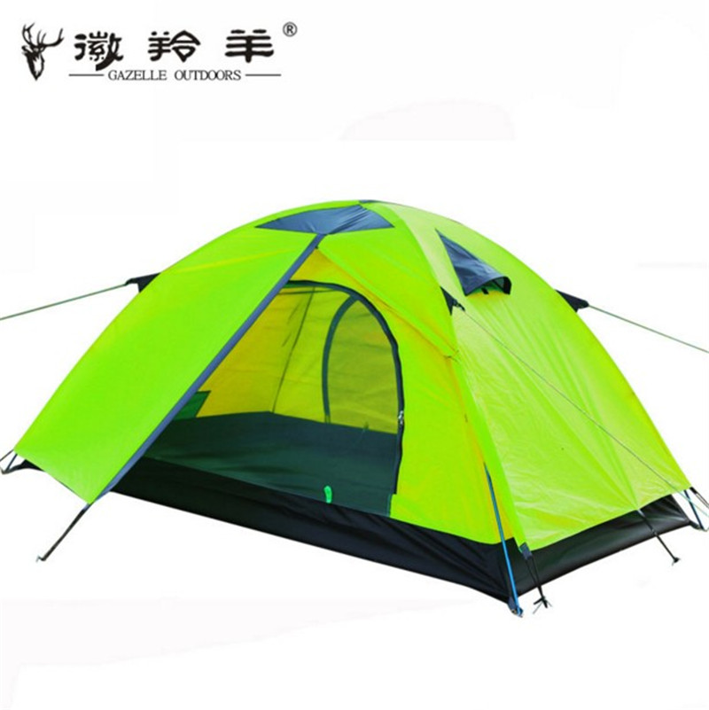 ФОТО 2016 new 2 person 2 layer 2 door aluminum rod hiking travel mountaineering cycling beach fishing outdoor camping tent