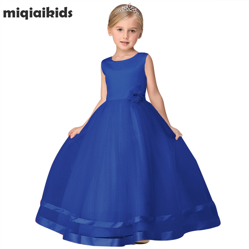 Retail 2018 New Summer Flower Girl Dress Children Girl Wedding Party Dress Girl Clothes Princess Ankle