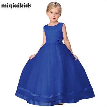 Retail 2019 New Summer Flower Girl Dress Children Girl Wedding Party Dress Girl Clothes Princess Ankle-Length Long Dress LP-62