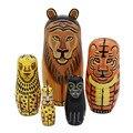 Bonito 5 camadas de madeira feitos à mão Russion tradicional Matryoshka boneca Animal brinquedos para o bebê