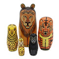 Cute 5 layers Handmade wooden Russion traditional Matryoshka Animal doll toys for baby