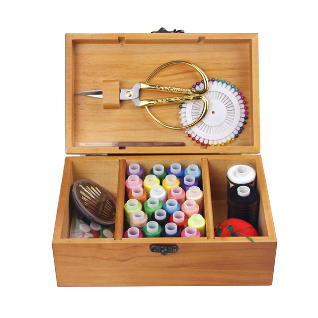 d35b49ed3 Retro Wooden Sewing Box Sewing Kit with Sewing Accessories for Camping Home  Kids Travel Emergency