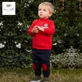 DB4592 dave bella spring baby boys red sports clothing sets turn down collar shirt pants casual boys sets