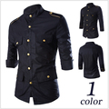 M-2XL!!!!Free Shipping The New Spring 2015 Men's Wear Brand Men's Fashion Leisure Men Sleeve Shirt High-Grade Gold Brochure
