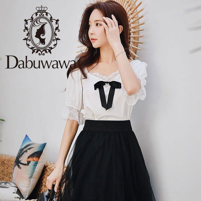 2d87fd341a US  22.66. US  27.98. -19%. NEW. Dabuwawa 2019 New Summer Lace Bow Chiffon  Shirts Women Ladies Butterfly Sleeve ...