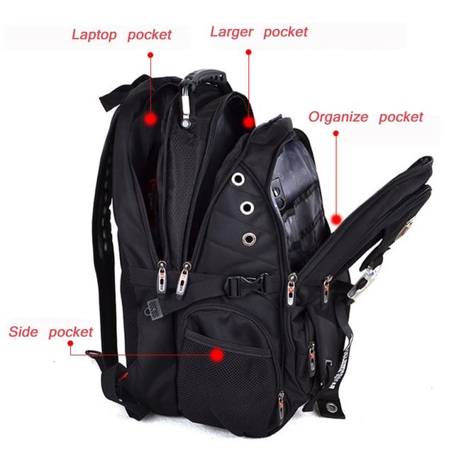 Swiss Multifunctional Travel laptop Backpack Men SchoolBags Students Business Rucksack 17 inch Computer bagpack waterproof 2