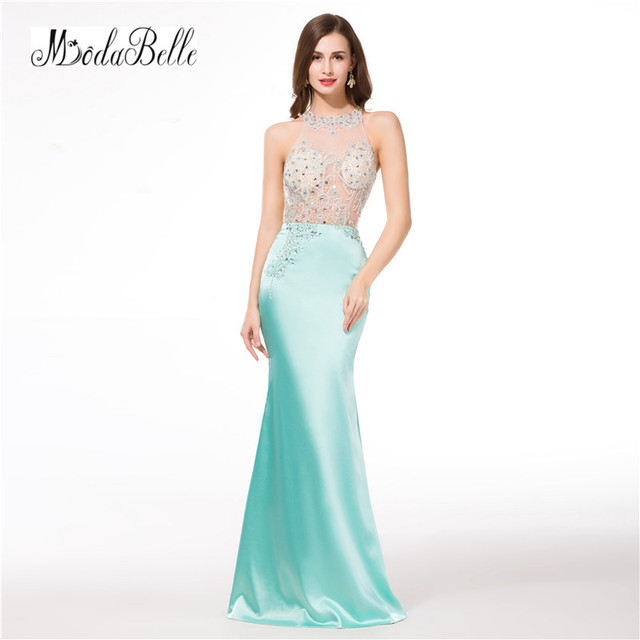 modabelle 2018 Mint Green Prom Dresses Beading Vestidos De Fiesta Arabes  Sexy Mermaid Long Formal Evening Party Dress 72a21f09d4a9