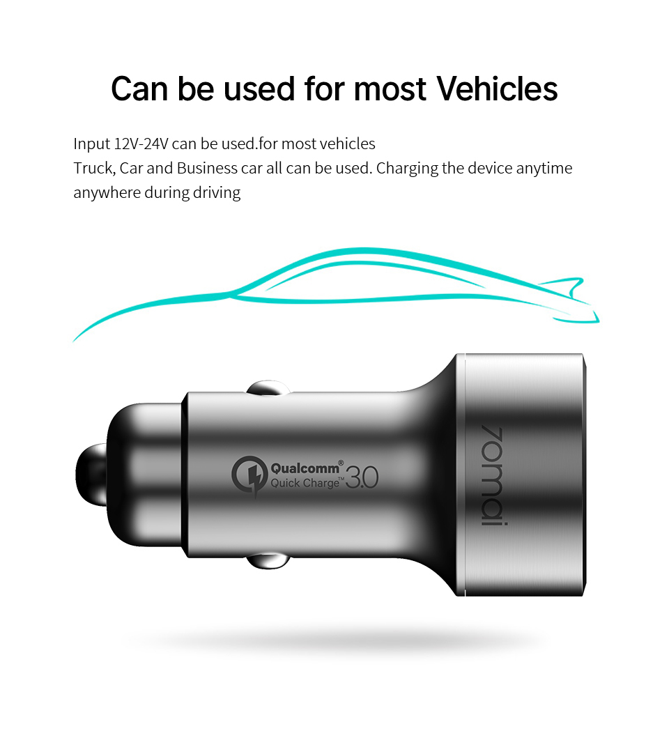70mai QC3 0 Fast charge Dual USB Car Charger 70 mai Metal Case 2USB Vehicle  car charger Android iOS for iPhone for Xiaomi