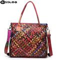 2016 Hot 100% women handmade bags handbag Colorful Patchwork genuine leather woven bag knitted Real leather Tote bag