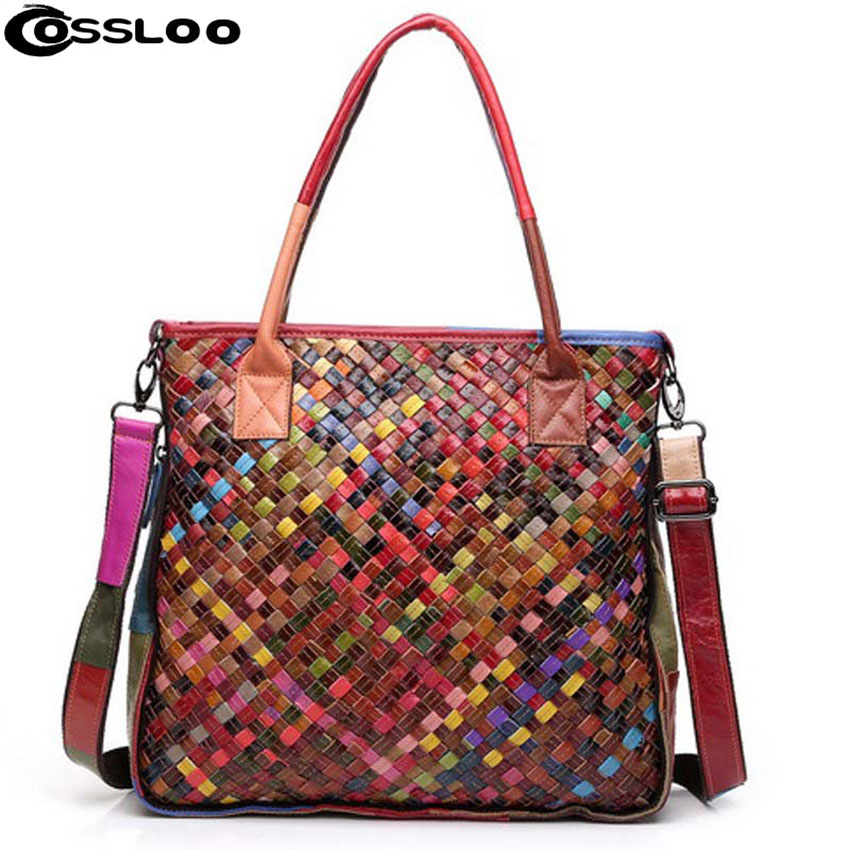 COSSLOO 2017 Hot 100% women handmade bags handbag Colorful Patchwork genuine leather woven bag knitted Real leather Tote bag