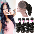 7A 360 Lace Frontal Closure With Bundles Indian Loose Wave Virgin Human Hair 3 Bundles With 360 Closure Indian Weave Bundles