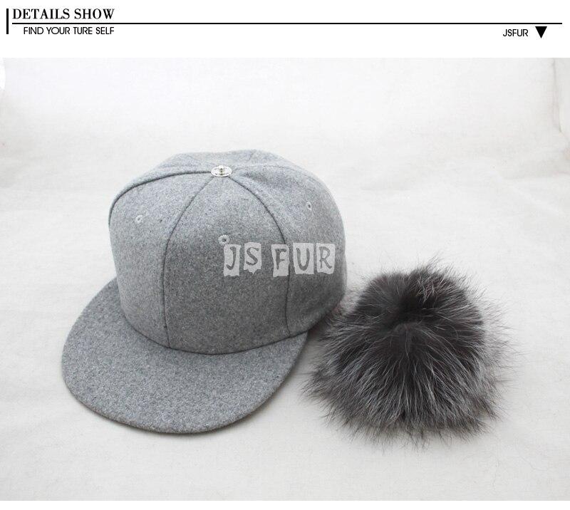 be797585c2b Vintage Grey Snapback Polo Cap with Round Fluffy Silver Fox Fur Pom ...