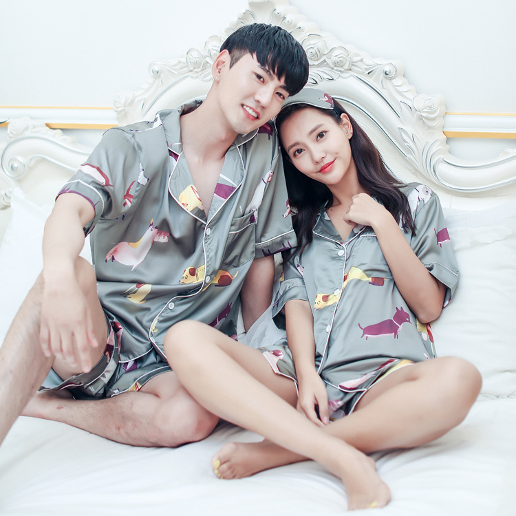 New ladies silk pajama suit women & men nightgown print dog lovers loose short sleeve loungewear summer couple satin pajamas
