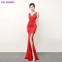 CX SHINE Backless lace beading sexy mermaid trumpet long evening dresses robe de soiree long prom party dress Vestidos цены