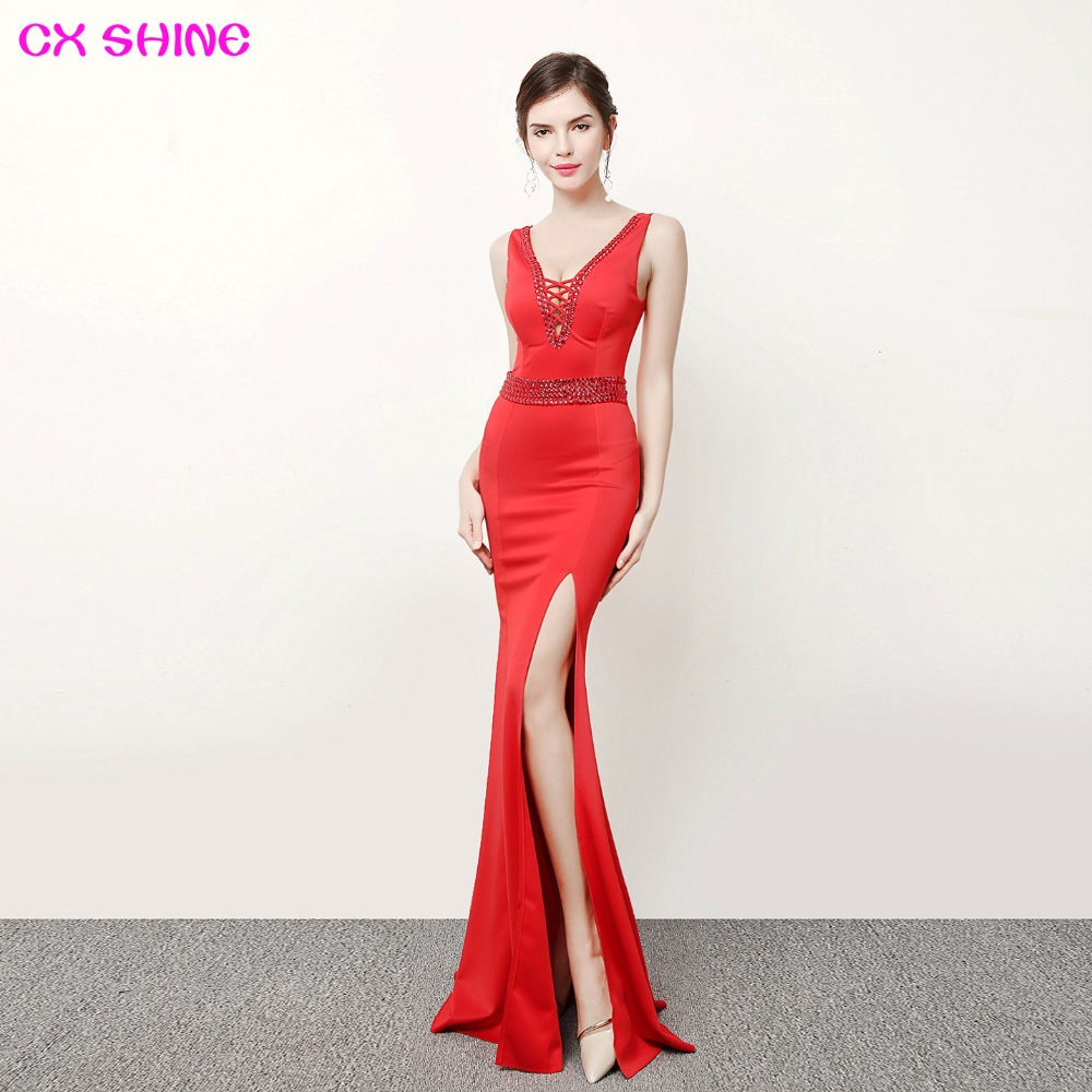CX SHINE Backless lace beading sexy mermaid trumpet long   evening     dresses   robe de soiree long prom party   dress   Vestidos