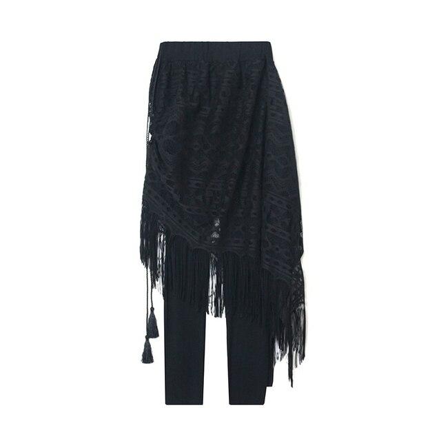 Lace Patchwork Women Leggings Tassel Fake 2 set pieces Skirt Leggings Black Elastic Fitness Women Solid Slim Female Clothing
